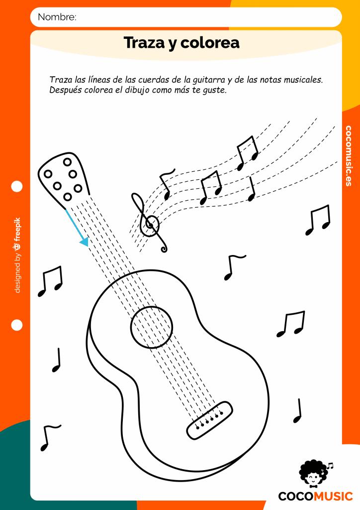 Traza y colorea la guitarra